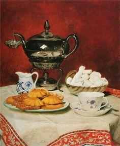 Albert Anker - Stilleben - Tee und Schmelzbrötchen