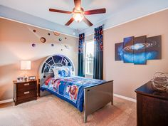 This bedroom in Highland Homes' Shelby model sports galactic flair with #StarWars accents, planets, stars, and more. Click to see more of this #dreamhome! Creative Kids Rooms, Highland Homes, Bedroom Pictures, New House Plans, Florida Home, Home Builders, Starwars, Kids Bedroom, Planets