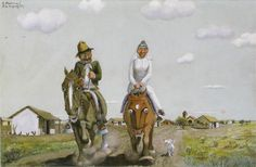"""""""Ricien casaus"""" Just married. (Molina Campos).  His work represents gauchesco scenes with a bit of humor. arguably Argentina's leading figure in naïve art"""
