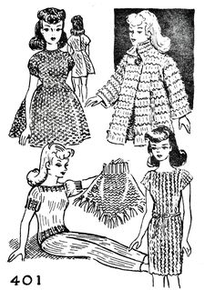 Crochet Dolls Clothes Free Fashion Doll Knitting Pattern Wardrobe - Knit Free and Easy Vintage Fashion Doll Pattern Wardrobe that features a Pant Set, Dress, Mini Dress, Poncho, and a Coat. Knitted Nurse Doll Pattern, Fabric Doll Pattern, Barbie Knitting Patterns, Knitted Doll Patterns, Doll Patterns Free, Knitting Dolls Clothes, Crochet Barbie Clothes, Barbie Patterns, Crochet Doll Pattern