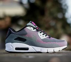 Nike Air Max 90 Jacquard – Black / Gray – Anthracite – Bright Magenta