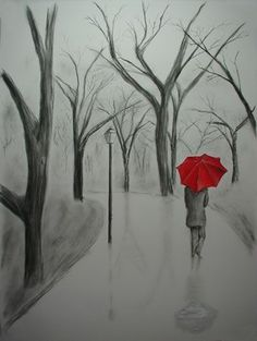 Charcoal Drawings Of People | Pencil and charcoal drawing with the red umbrella painted in oil. 18 x ...