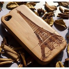 Cool Eiffel Tower Wooden Cover Case For Iphone 4/4s/5 ❤ liked on Polyvore