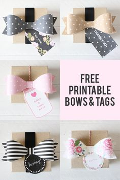 Free printable bows and tags from chicfetti.com #freeprintable - great for wedding favors! @chicfetti for more fun free printables!