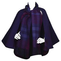 Burberry Purple & Nova Print Wool Cape Poncho