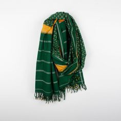 Ikat Dupatta Green/Gold now featured on Fab.