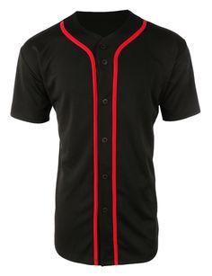 LE3NO Mens Active Short Sleeve Button Up Baseball Jersey Shirt