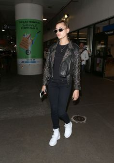 Hailey Baldwin at LAX Airport in Los Angeles 06/07/2017. Celebrity Fashion and Style | Street Style | Street Fashion
