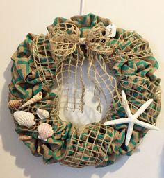 Beach themed burlap wreath
