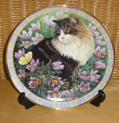 DANBURY MINT CATS AMONG FLOWERS LESLEY ANNE IVORY PLATE SIMPKIN IN PASQUE FLOWER