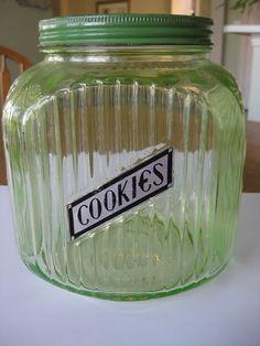 Vaseline glass cookie jar.... have my grandmothers!  I have my keurig cups in it.