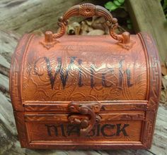 Witches Spells Chest purses Magic Wicca Cats Primitive halloween decorations witchcraft $25