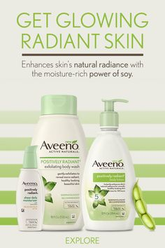 Get glowing, radiant skin with Aveeno: Shake up your skin care routine and unlock skin's natural radiance with the moisture-rich power of soy.