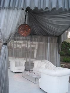 White and silver lounge seating