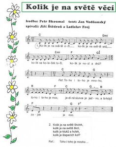 Výsledek obrázku pro písničky pro děti Kids Songs, First Day Of School, Music Notes, Sheet Music, Kindergarten, Preschool, Language, Activities, Teaching