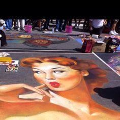 Sidewalk chalk painting in Sarasota Fl.