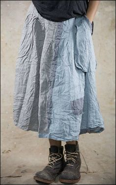 Perfect Pippi attire! Hettie Skirt 068-Assorted Blues & Grays