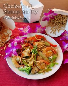 Chicken and Shrimp Stir-Fry. Get this recipe and others perfect for #WeekdaySupper at www.sundaysuppermovement.com. Simple ingredients. About 30 minutes.