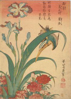 Kingfisher, Pinks & Irises by Hokusai