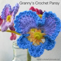 This crochet pansy pattern has been adapted from one of my great-granny's crochet pieces. It holds great nostalgic meaning for me.
