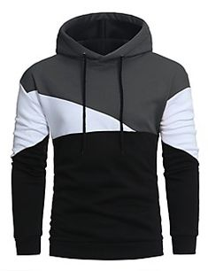 512f126dcce   24.99  Men s Sports Long Sleeve Long Hoodie - Solid Colored Patchwork  Hooded Red XL   Fall   Winter