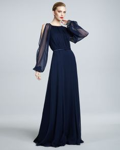 89323d6915c David Meister Signature Illusion-Sleeve Gown