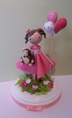 balloon cake topper clothespin doll