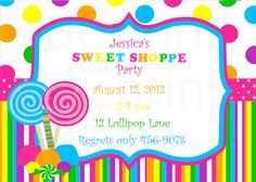 Sweet as Candy Candyland invitations Cards borders frames