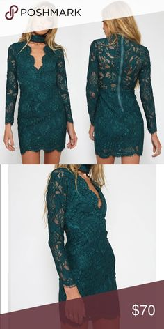 Rihanna Dress in Teal NEVER WORN, brand new with tags. perfect condition. Super flattering and perfect for going out or keeping it casual with tights and a coat this season! beautiful lace detailing and a cute cutout neckline. size AUS 8, US small. price is firm, no trades :) peppermayo Dresses