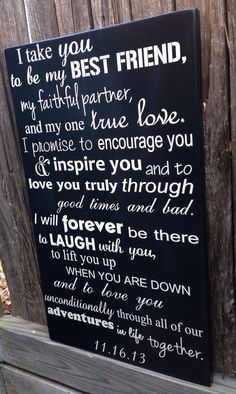 Wedding Vows Anniversary Gift Wood Sign 12 x 20 by LilMissScrappy