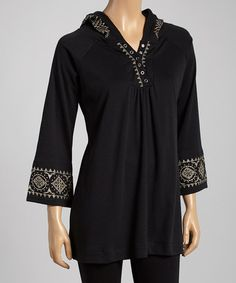 Loving this Black Embroidered Hooded Tunic - Women & Plus on #zulily! #zulilyfinds