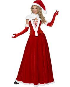Un déguisement de mère noël en velours avec une belle robe longue en vente chez Ledeguisement.com