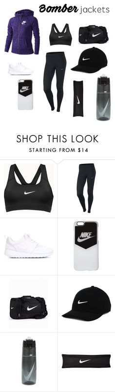 """""""Nike Bomber!"""" by nyteriaw ❤ liked on Polyvore featuring NIKE and bomberjackets"""