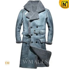 CWMALLS® Vintage Double Breasted Sheepskin Trench Coat CW807608 (Updated styles 2017)  Buy vintage sheepskin trench coat crafted from Australia Sheepskin shearling at CWMALLS store, featuring double buckled straps at collar, exposed collar, double breasted, vent backside and a adjustable belt, this sheepskin long coat perfect for winter.  www.cwmalls.com  Email: sales@cwmalls.com