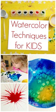 These watercolor techniques for kids are fun and provide interesting and creative alternatives to basic watercolor painting. Rubbing alcohol, salt & more! Projects For Kids, Art Projects, Crafts For Kids, Toddler Crafts, Painting For Kids, Art For Kids, Kids Watercolor, Watercolor Pencils, Watercolor Paintings