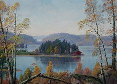 Horma Lake in Lohja Finland - Ellen Favorin Finnish, 1853 - 1919 Oil on canvas, 26 x 36 cm x in) European History, Where To Go, Oil On Canvas, Gallery, Illustration, Artwork, Artist, Painting, Places
