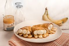 Banoffee Pie Pancakes with Joe and Seph's Caramel Sauce: 'Pancake day fun or a party trick that the kids can get involved with. Family Recipes, Family Meals, Banoffee Pie, Salted Caramel Sauce, Pancake Day, Party Hacks, Mille Crepe, Confectionery, Crepes