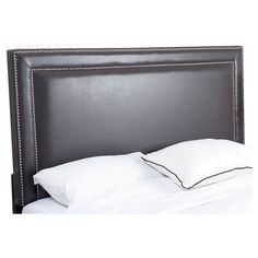 Ariel Nailhead-trim Leather Headboard - Grey (Full/Queen) - Abbyson Living