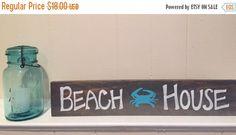 Beach House Reclaimed Wood, Homemade Sign.  Crab, beach living, coastal rustic, shore, ocean, blue crab, vacation home,