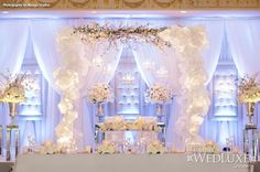 WedLuxe: all-white #wedding decor and floral from event designer Rachel A. Clingen Wedding & Event Design. Photography by Mango Studios #sweetheart #table