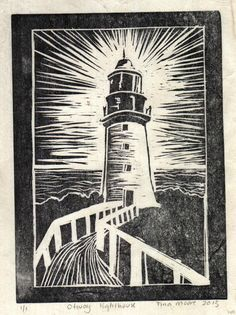 Otway lighthouse lino print by TinasPrints on Etsy Linocut Prints, Art Prints, Block Prints, Lino Art, Lighthouse Art, Linoprint, Tampons, Wood Engraving, Woodblock Print