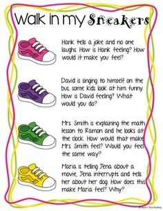 Walk in my sneakers empathy activity; Social emotional lea