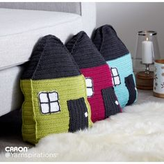 Free Easy Crochet Pillow Pattern | Yarnspirations | Make a pillow to match your house! These cute crocheted pillows, made in Caron Simply Soft, will be the hit of the neighborhood!