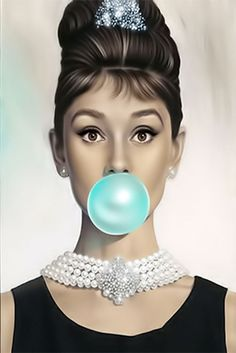 AUDREY HEPBURN GUM BUBBLE FINE ART CANVAS A1 ICONIC RETRO 20X30 WALL GUM MODERN