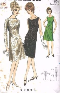 """Vintage 1960s Sewing Pattern Butterick 3735 One or Two Piece Dress B31"""" Complete…"""