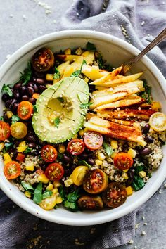 Chili Mango Zesty Quinoa Salad! This summertime salad is perfect for eating by the pool or taking to work! Refreshing, gluten-free, and vegan! | Posted By: DebbieNet.com