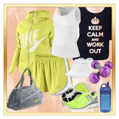 """LOVE YOUR BODY <3"" by decigirl ❤ liked on Polyvore featuring NIKE, American Apparel and Nalgene"