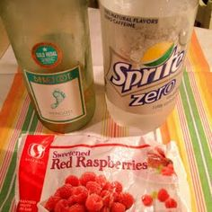 White Wine Spritzer - Equal parts of your favourite white wine and Sprite (chilled). Add frozen red raspberries to your liking!