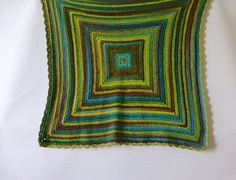 Crochet blanket wool blanket tones of green and brown by BabanCat