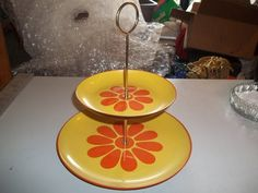 Vintage Yellow & Orange Flower Two Tier Tidbit by OurStuffBoutique, $25.00